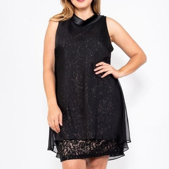 SL Fashions Dresses & Skirts - Plus Size Sleeveless Chiffon Overlay Lace Dress